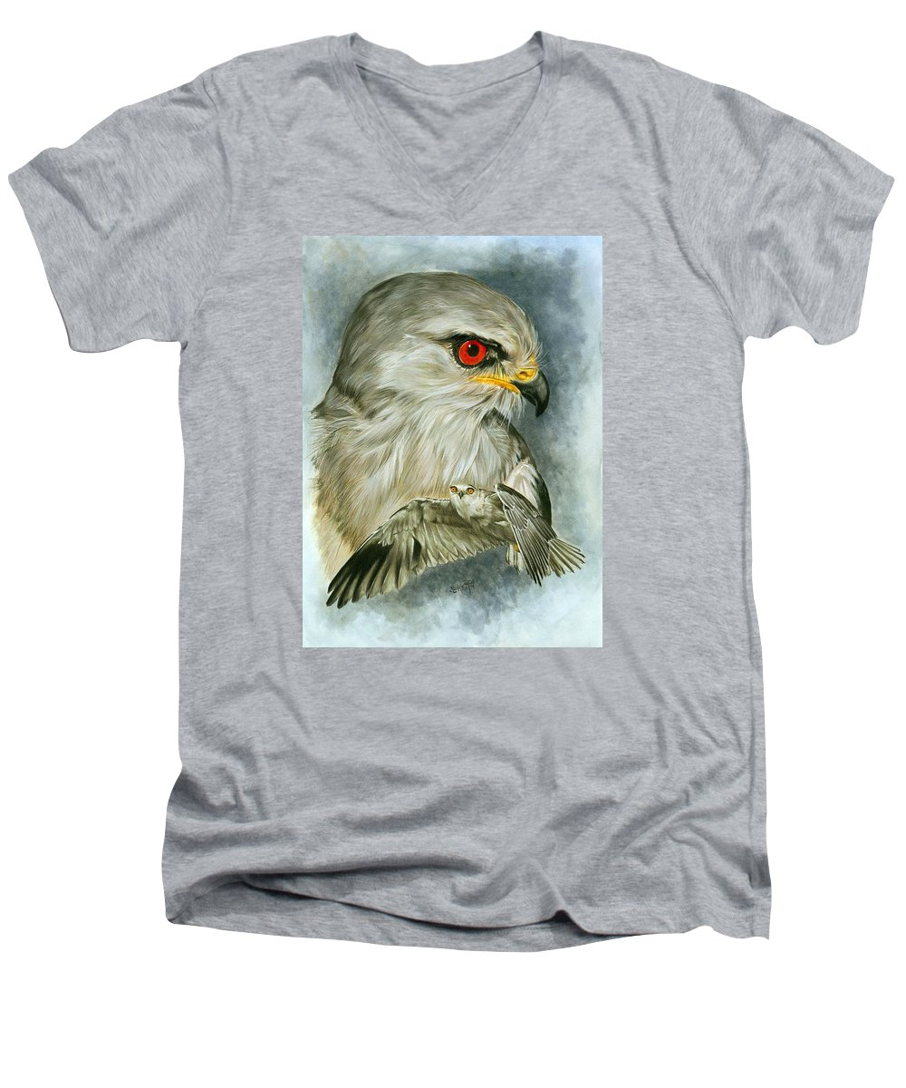Kite Men's V-Neck T-Shirt featuring the mixed media Velocity by Barbara Keith