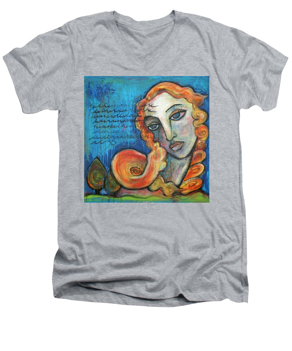 Venus Men's V-Neck T-Shirt featuring the painting Venus Lets Go by Laurie Maves ART
