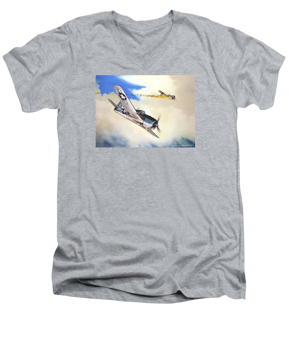 Military Men's V-Neck T-Shirt featuring the painting Victory For Vraciu by Marc Stewart