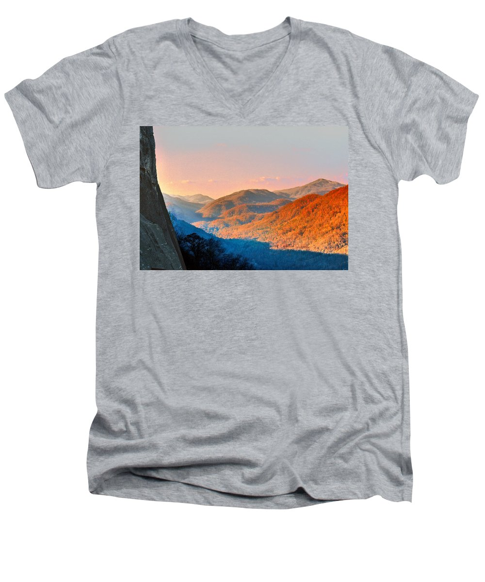 Landscape Men's V-Neck T-Shirt featuring the photograph View From Chimney Rock-north Carolina by Steve Karol