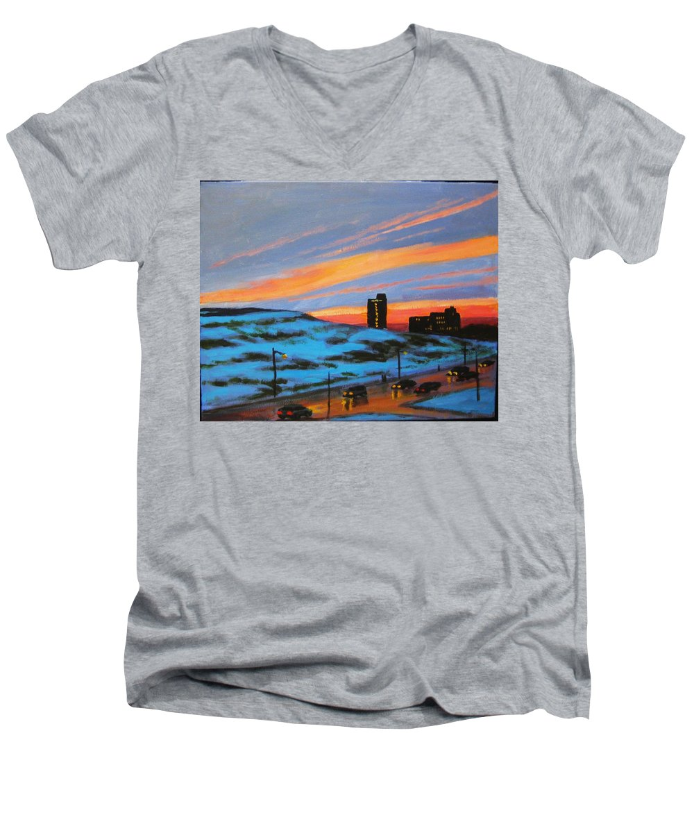 City At Night Men's V-Neck T-Shirt featuring the painting View From My Balcony by John Malone