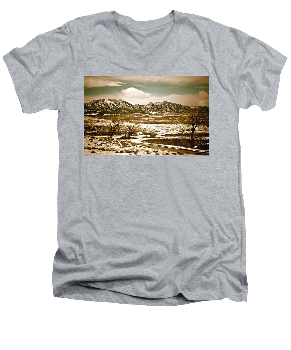 Landscape Men's V-Neck T-Shirt featuring the photograph Flatironsview From Superior by Marilyn Hunt