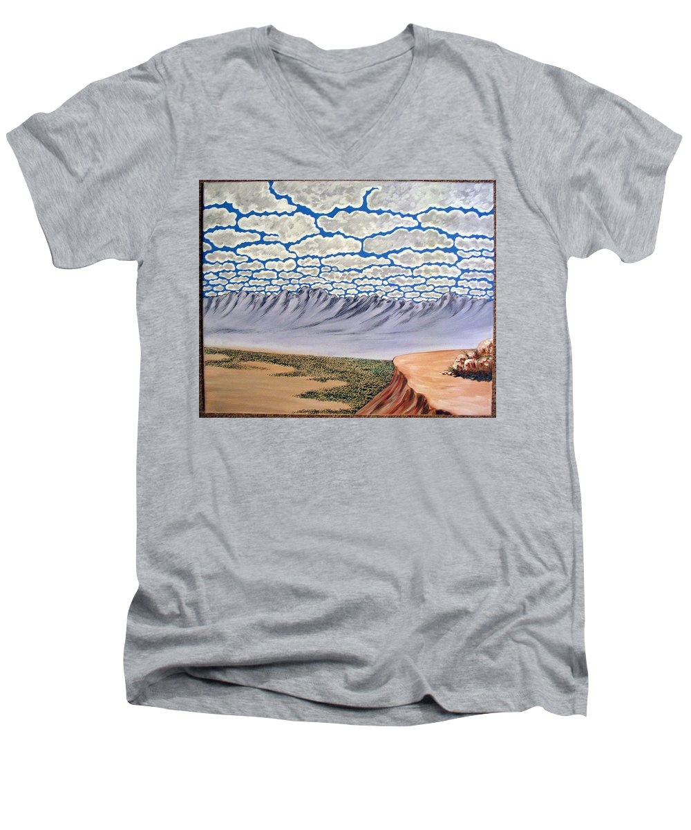 Desertscape Men's V-Neck T-Shirt featuring the painting View From The Mesa by Marco Morales