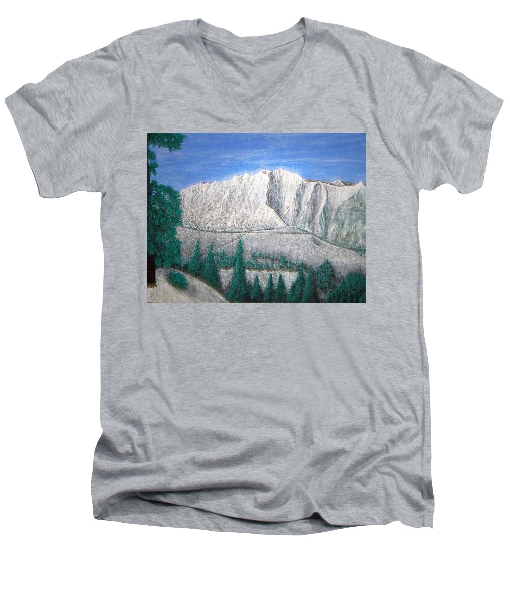 Snow Men's V-Neck T-Shirt featuring the painting Viewfrom Spruces by Michael Cuozzo