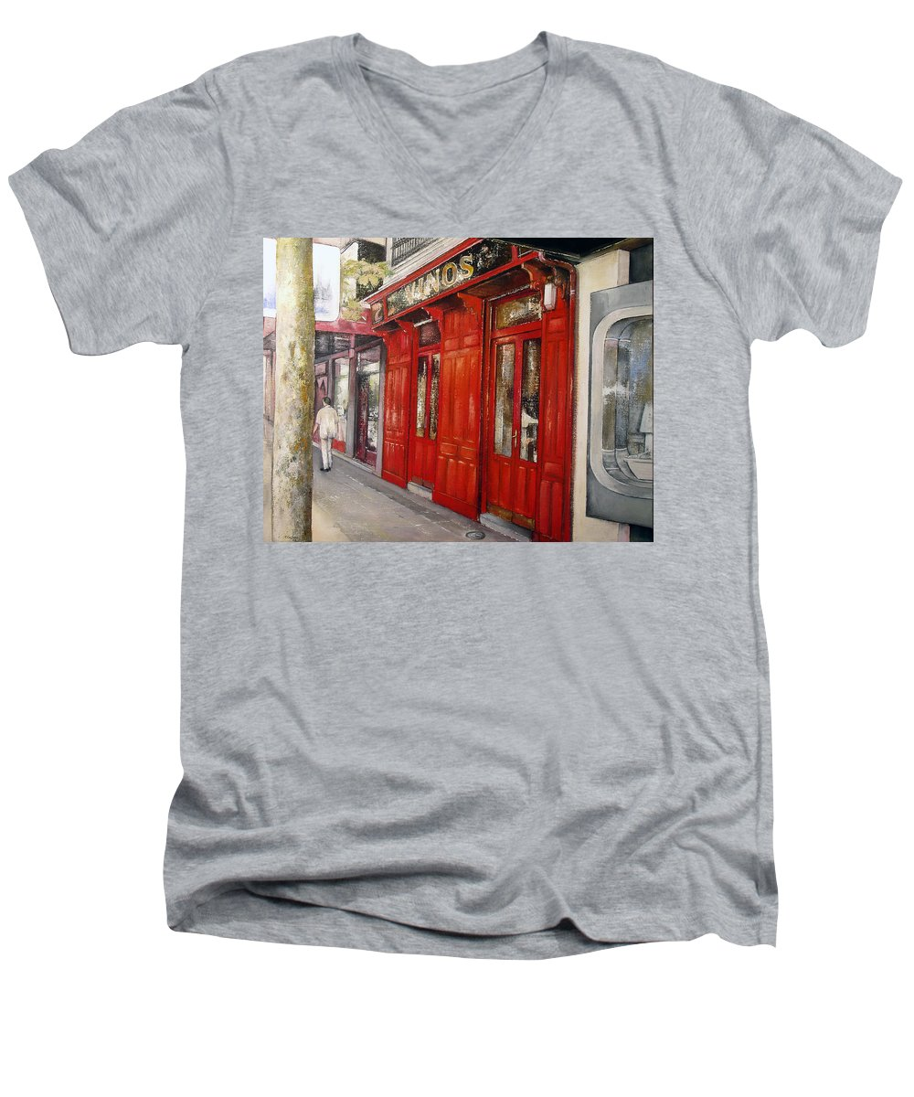 Urban Men's V-Neck T-Shirt featuring the painting Vinos Sagasta by Tomas Castano