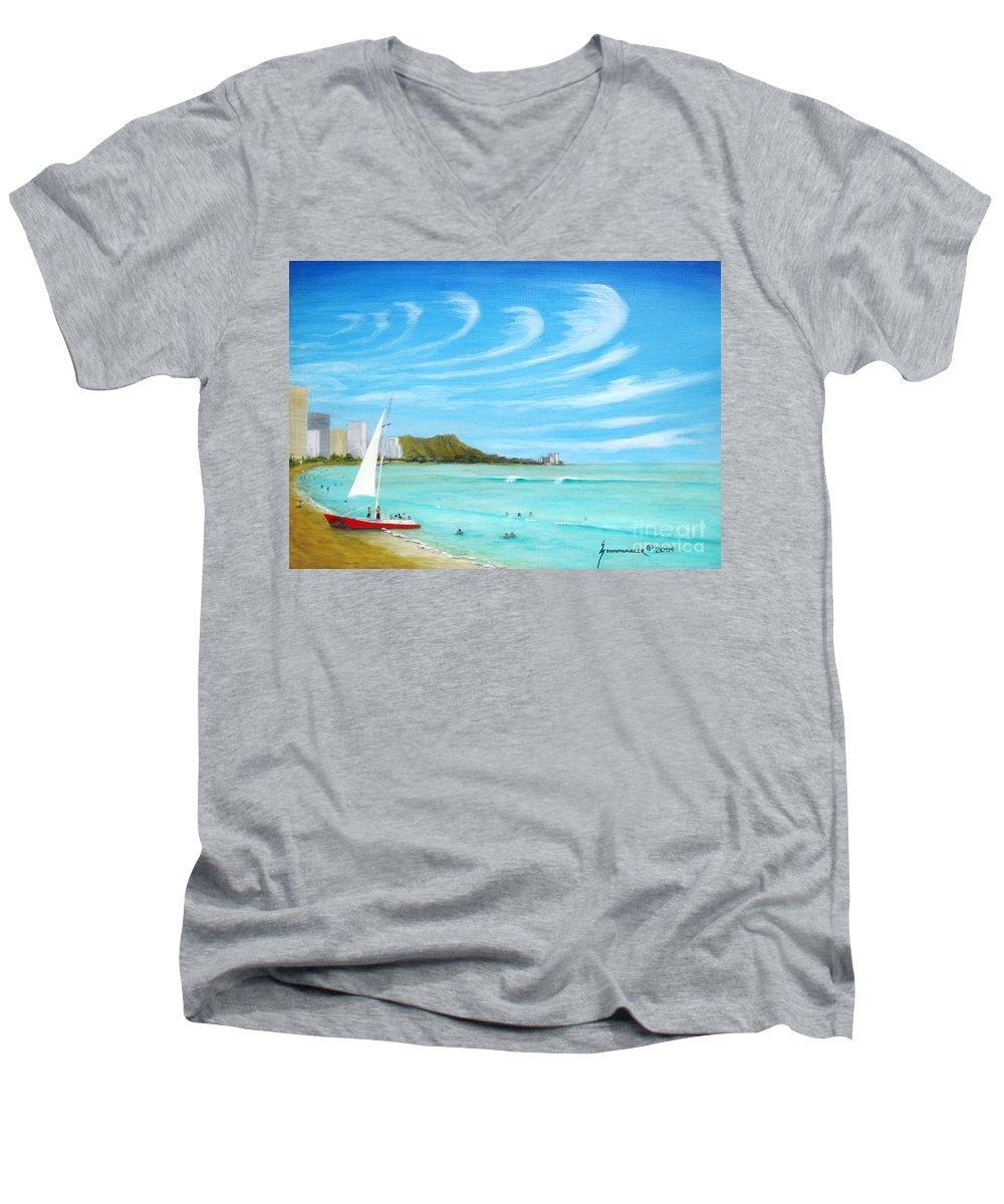 Waikiki Men's V-Neck T-Shirt featuring the painting Waikiki by Jerome Stumphauzer