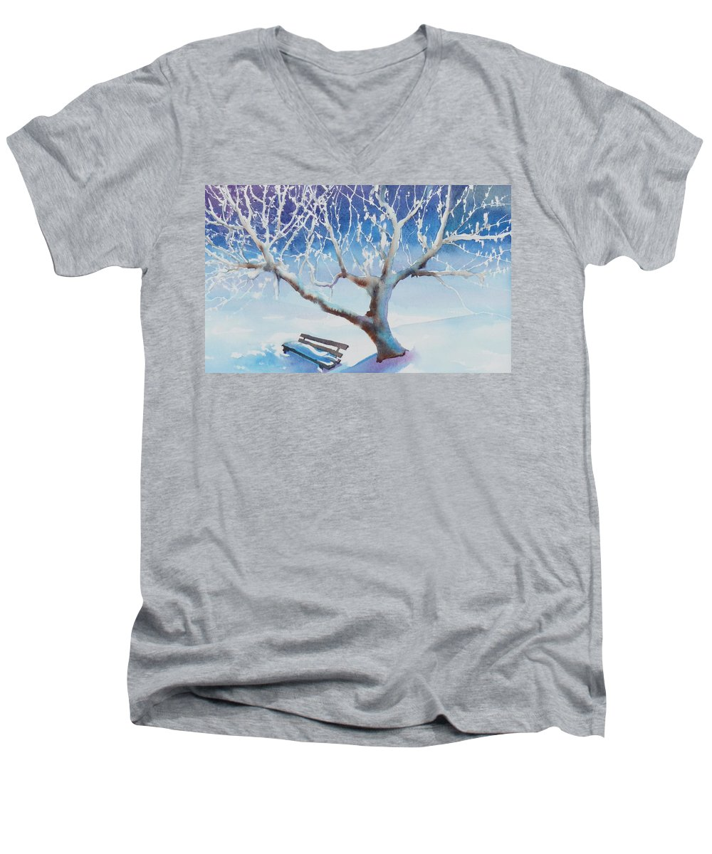 Snow Men's V-Neck T-Shirt featuring the painting Waiting For Spring by Ruth Kamenev