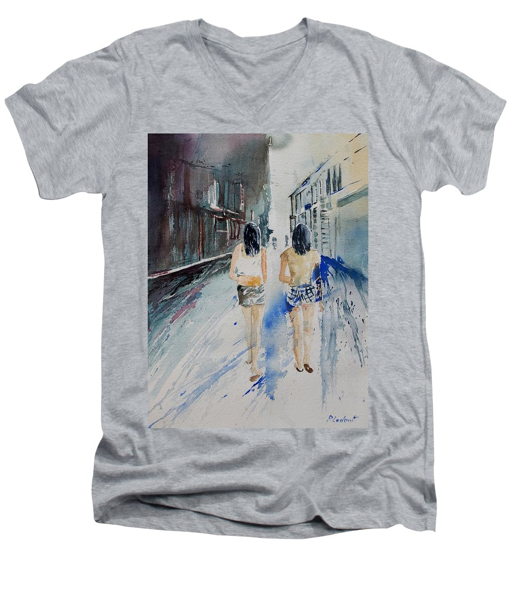 Girl Men's V-Neck T-Shirt featuring the painting Walking In The Street by Pol Ledent