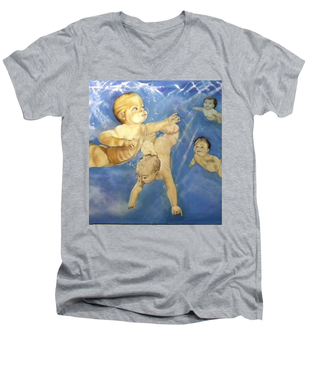 Babies Men's V-Neck T-Shirt featuring the painting Water Babies by Jane Simpson