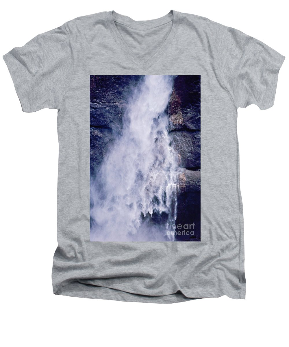 Waterfall Men's V-Neck T-Shirt featuring the photograph Water Drops by Kathy McClure