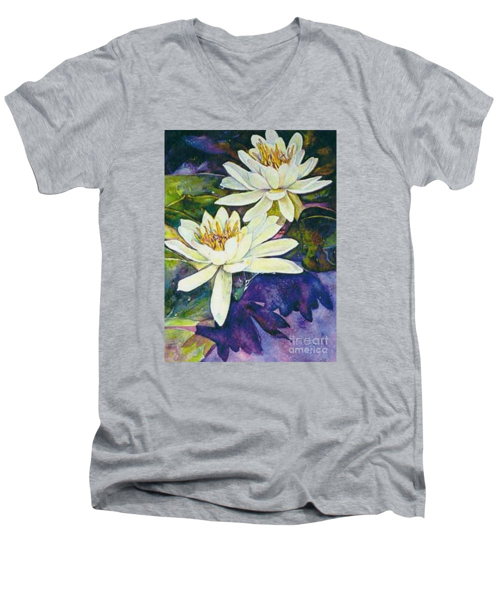 Flower Men's V-Neck T-Shirt featuring the painting Water Lilies by Norma Boeckler