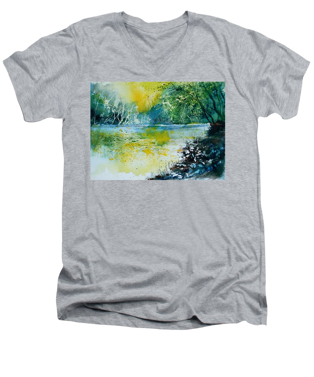 Pond Men's V-Neck T-Shirt featuring the painting Watercolor 051108 by Pol Ledent