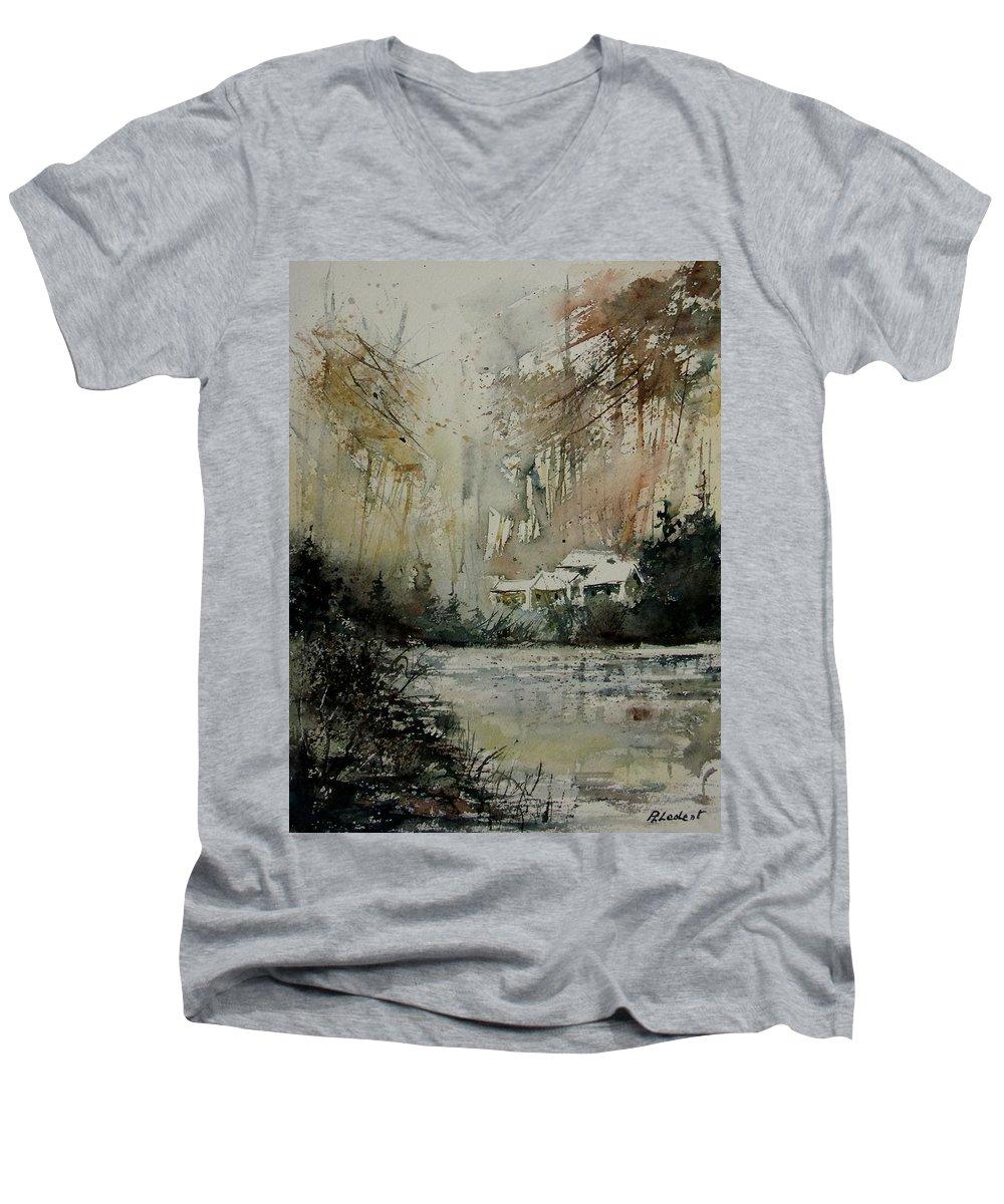 Landscape Men's V-Neck T-Shirt featuring the painting Watercolor 070608 by Pol Ledent