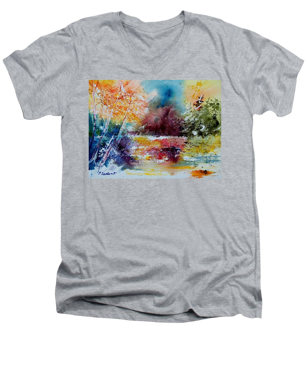 Pond Men's V-Neck T-Shirt featuring the painting Watercolor 140908 by Pol Ledent