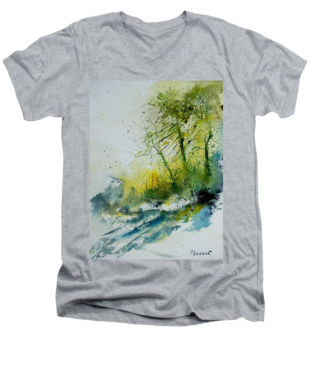 River Men's V-Neck T-Shirt featuring the painting Watercolor 181207 by Pol Ledent