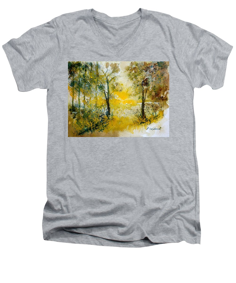 River Men's V-Neck T-Shirt featuring the painting Watercolor 210108 by Pol Ledent