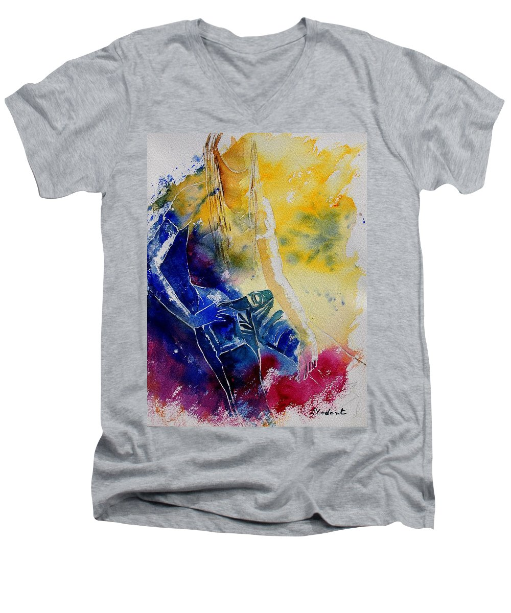 Girl Nude Men's V-Neck T-Shirt featuring the painting Watercolor 21546 by Pol Ledent
