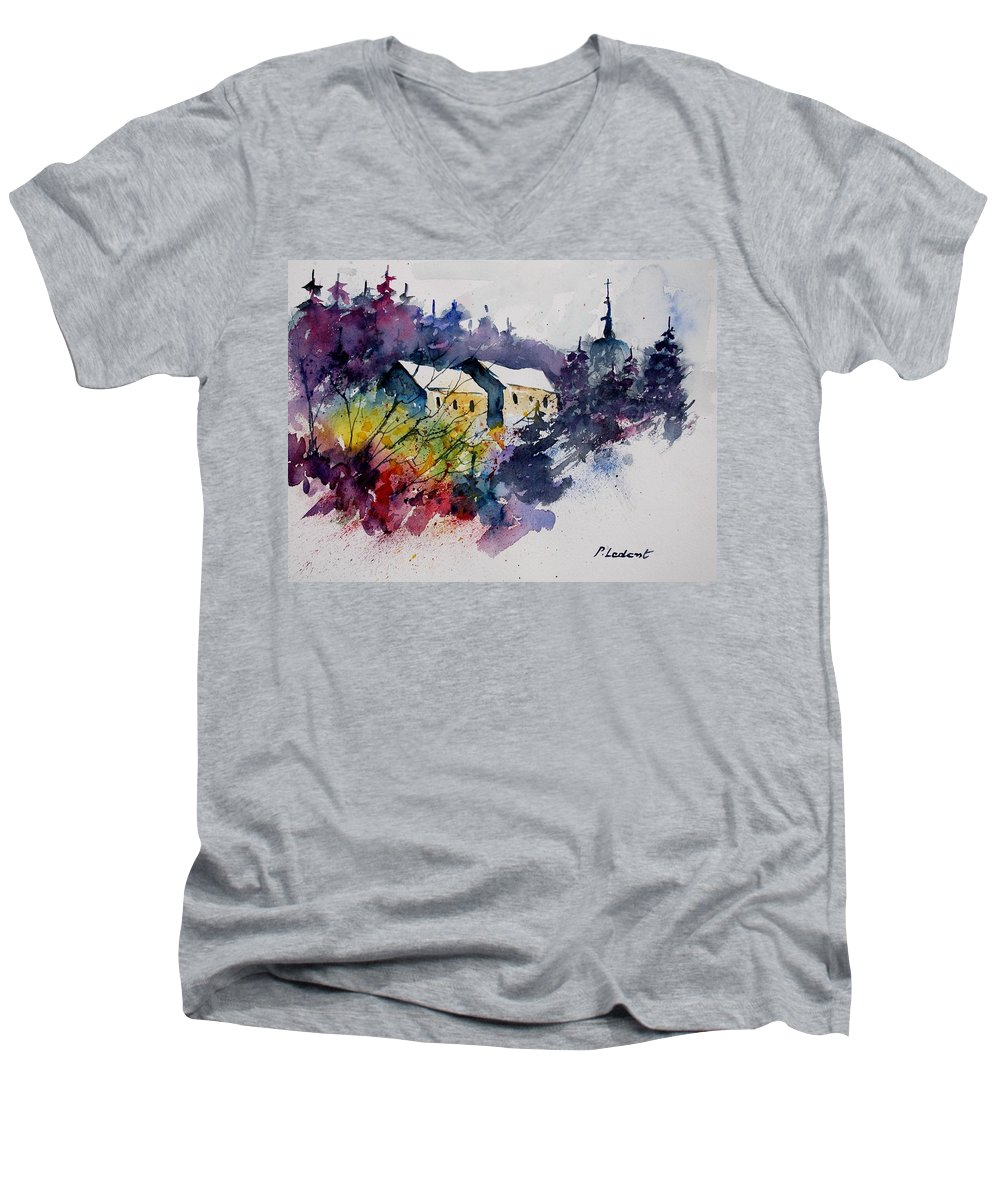 River Men's V-Neck T-Shirt featuring the painting Watercolor 231207 by Pol Ledent