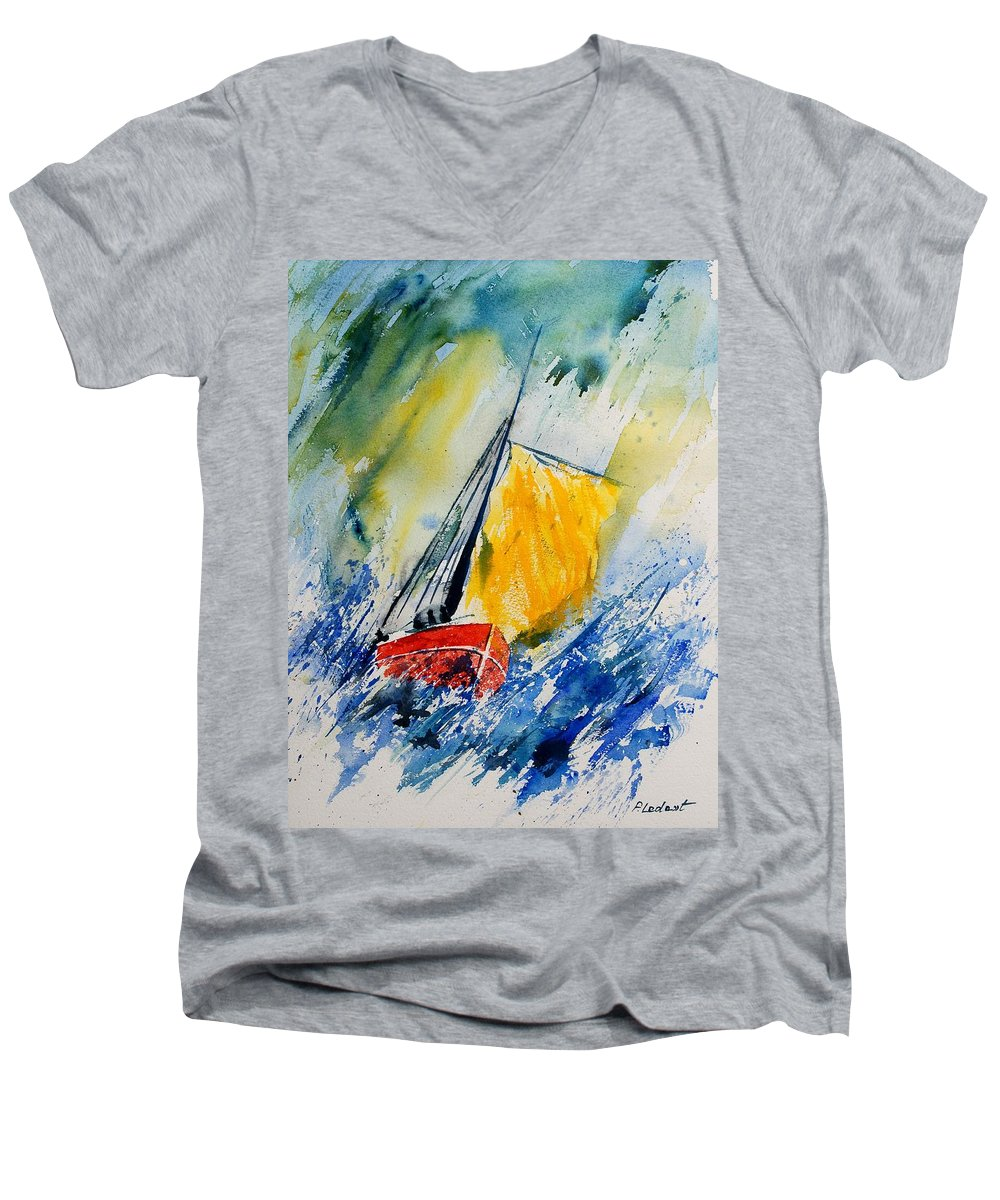 Sea Waves Ocean Boat Sailing Men's V-Neck T-Shirt featuring the painting Watercolor 280308 by Pol Ledent