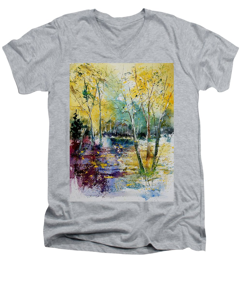 Pond Men's V-Neck T-Shirt featuring the painting Watercolor 280809 by Pol Ledent