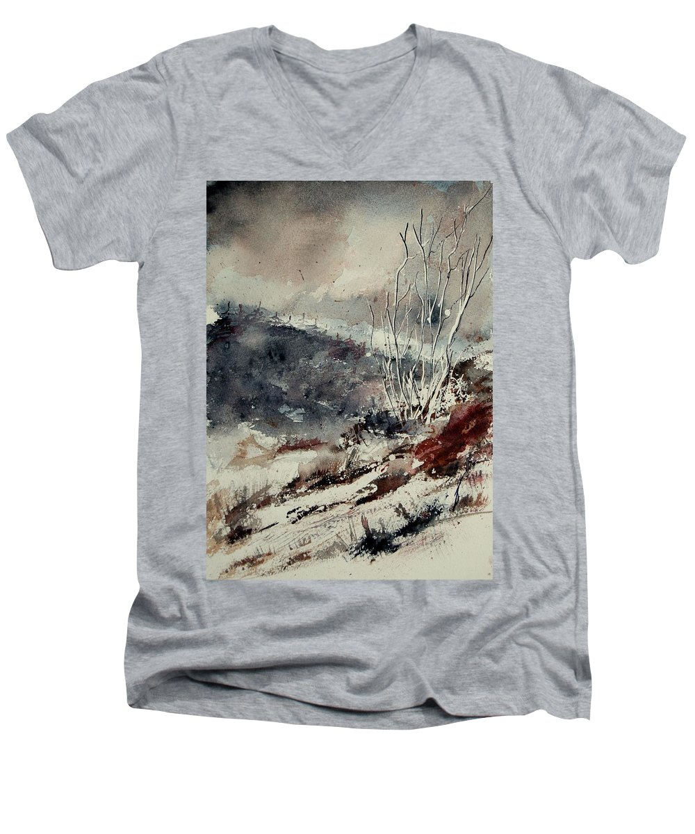 Snow Men's V-Neck T-Shirt featuring the print Watercolor 446 by Pol Ledent