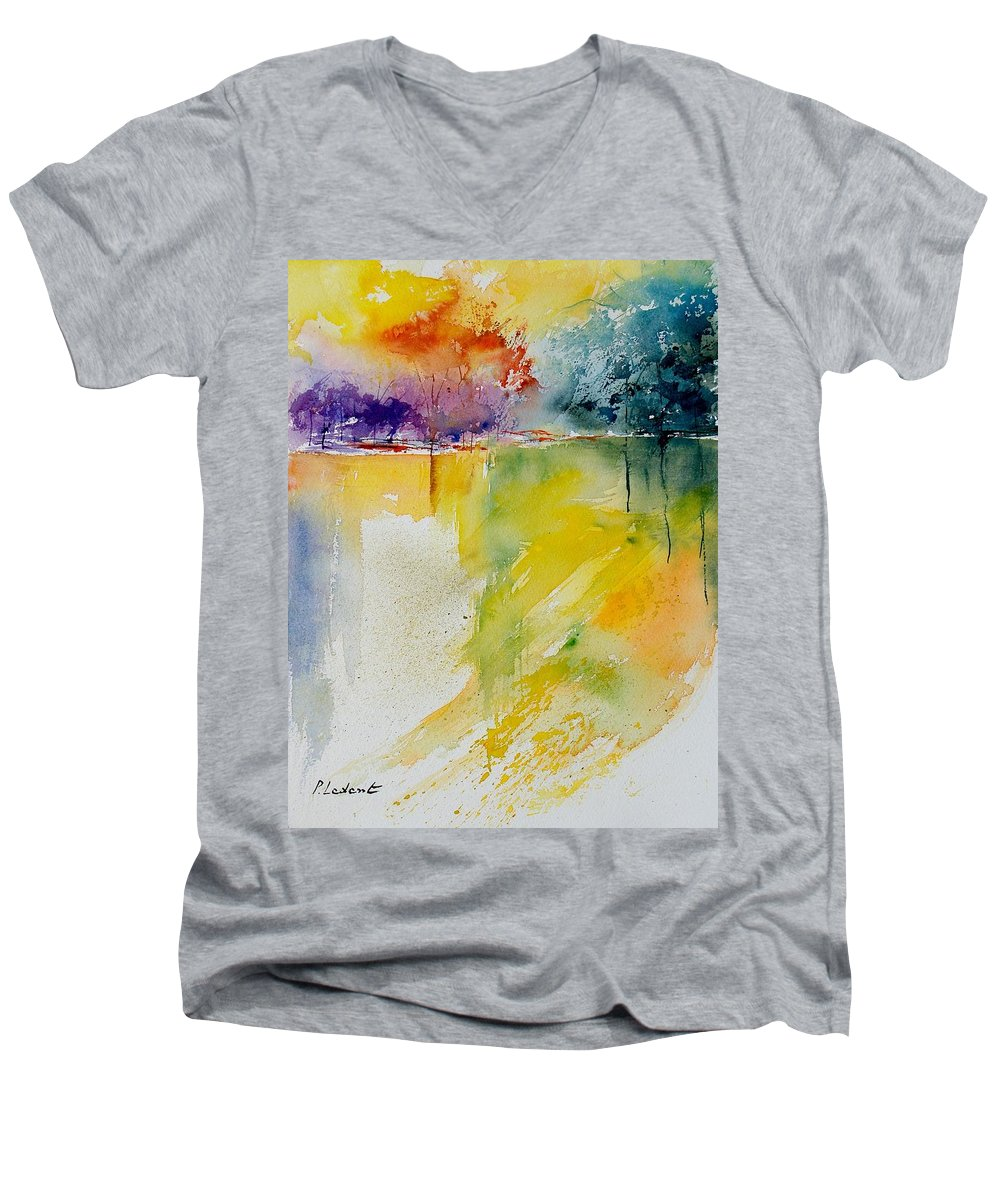 Pond Men's V-Neck T-Shirt featuring the painting Watercolor 800142 by Pol Ledent