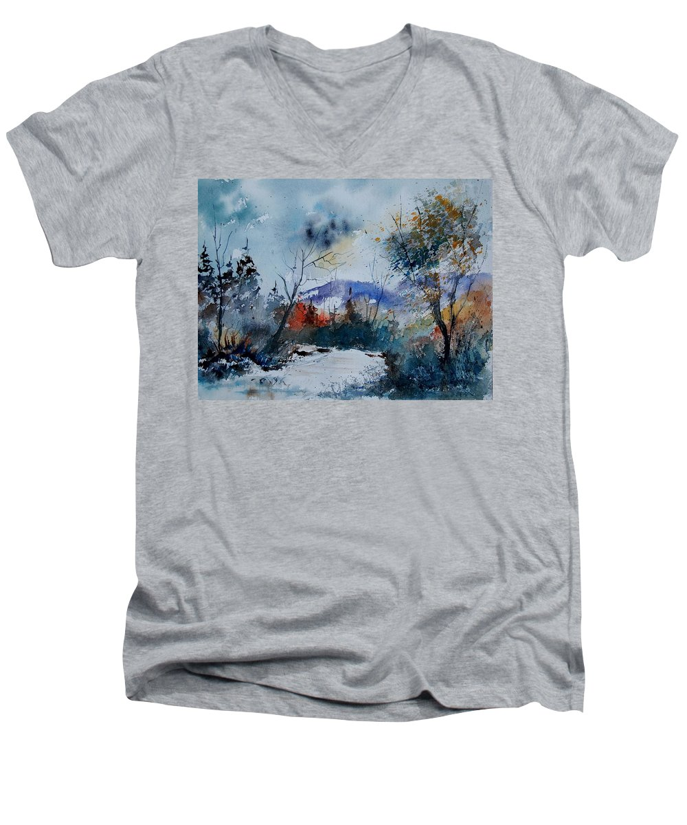 Landscape Men's V-Neck T-Shirt featuring the painting Watercolor 802120 by Pol Ledent