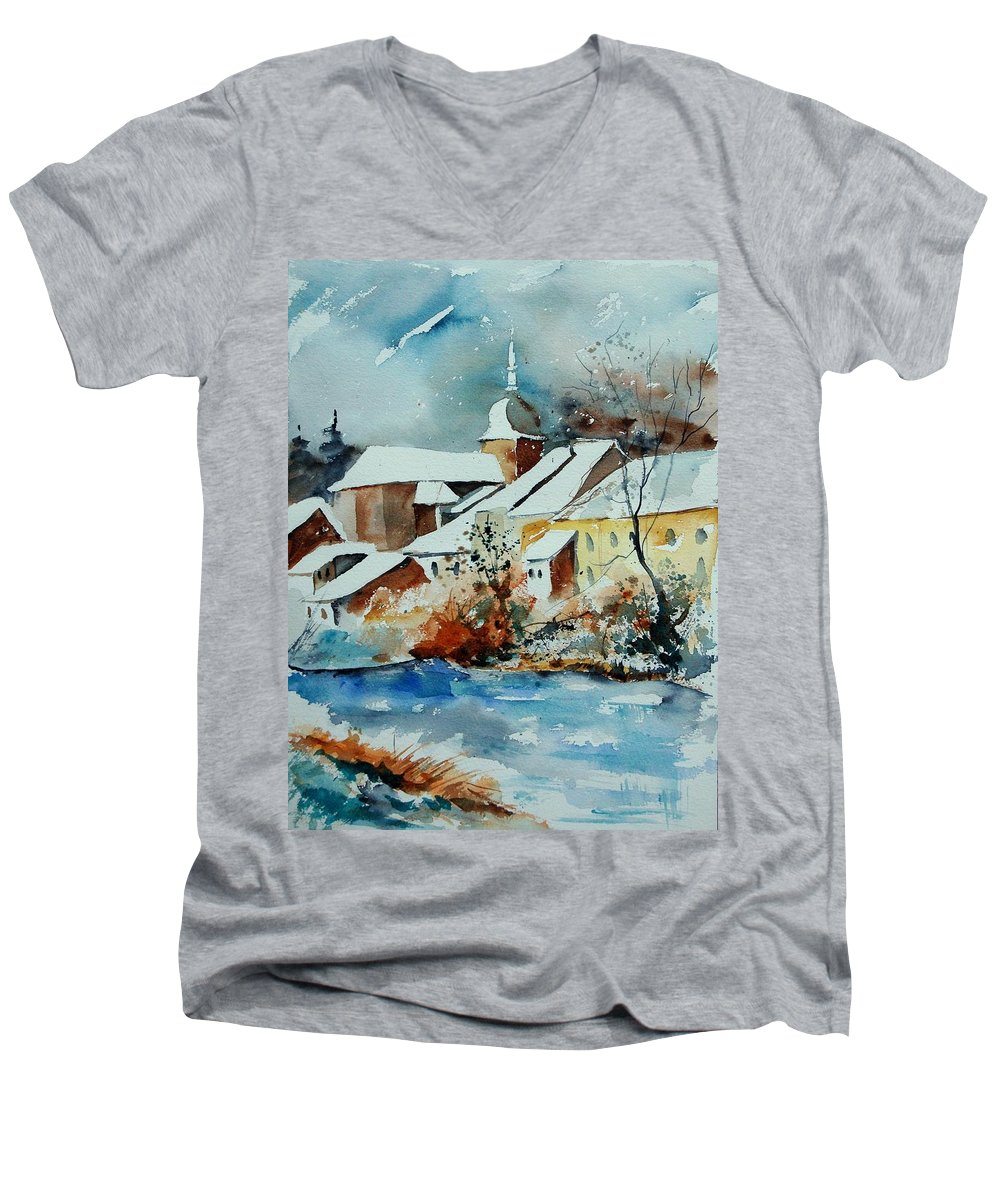 Landscape Men's V-Neck T-Shirt featuring the painting Watercolor Chassepierre by Pol Ledent