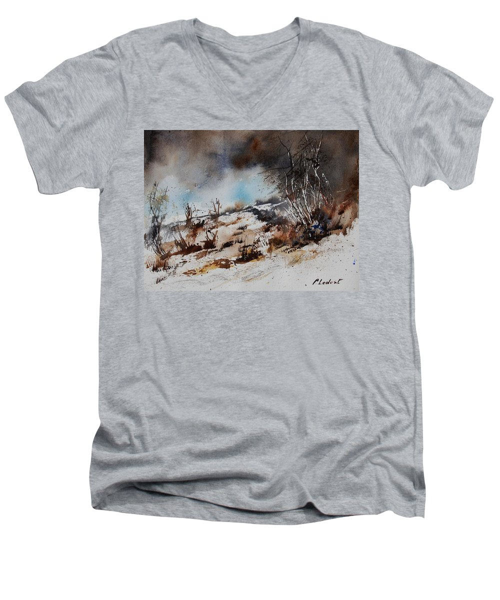 River Men's V-Neck T-Shirt featuring the painting Watercolor Jjook by Pol Ledent