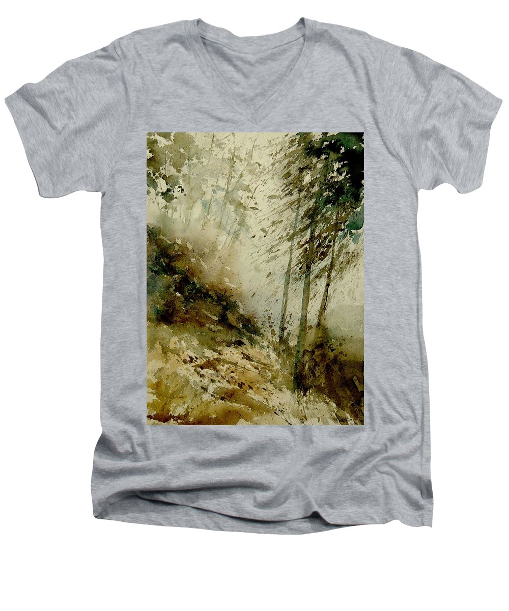Landscape Men's V-Neck T-Shirt featuring the painting Watercolor Misty Atmosphere by Pol Ledent