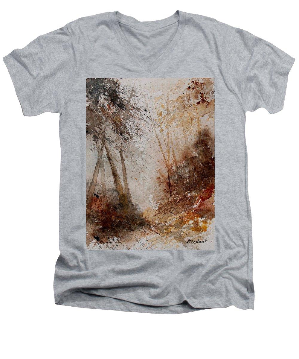 Landscape Men's V-Neck T-Shirt featuring the painting Watercolor Misty Path by Pol Ledent
