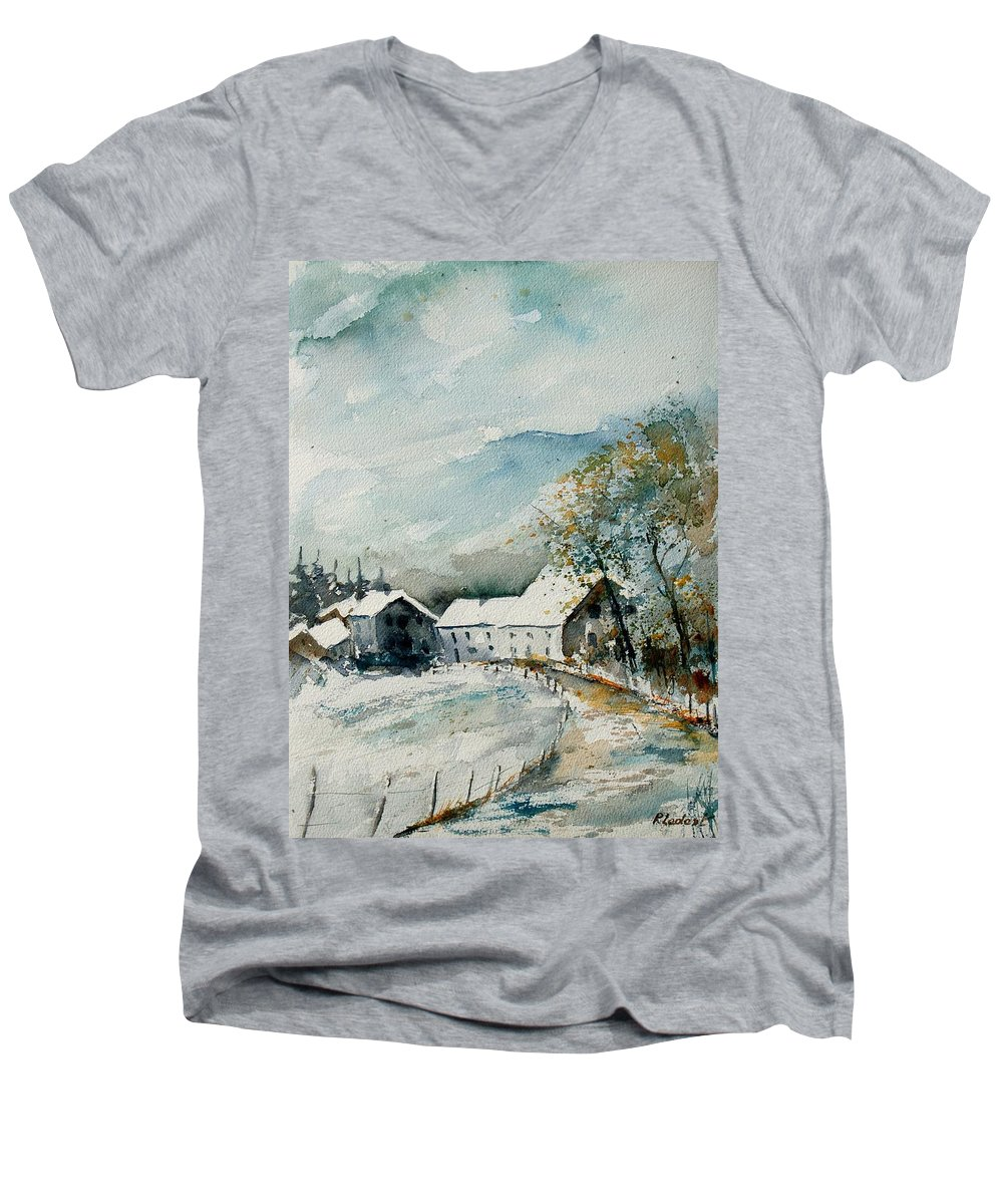 River Men's V-Neck T-Shirt featuring the painting Watercolor Sechery 1207 by Pol Ledent