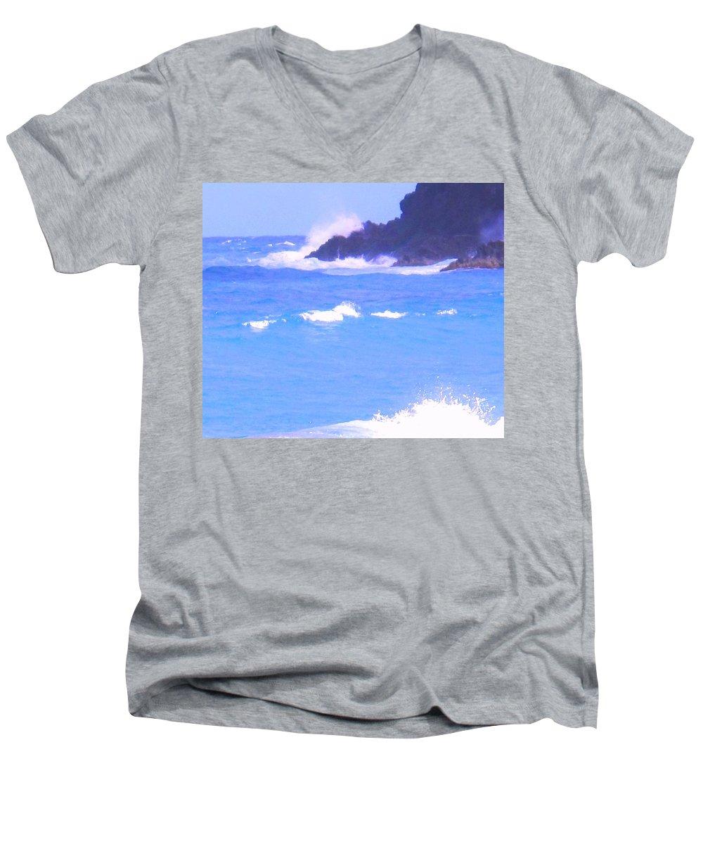 Ocean Men's V-Neck T-Shirt featuring the photograph Waves Crashing by Ian MacDonald
