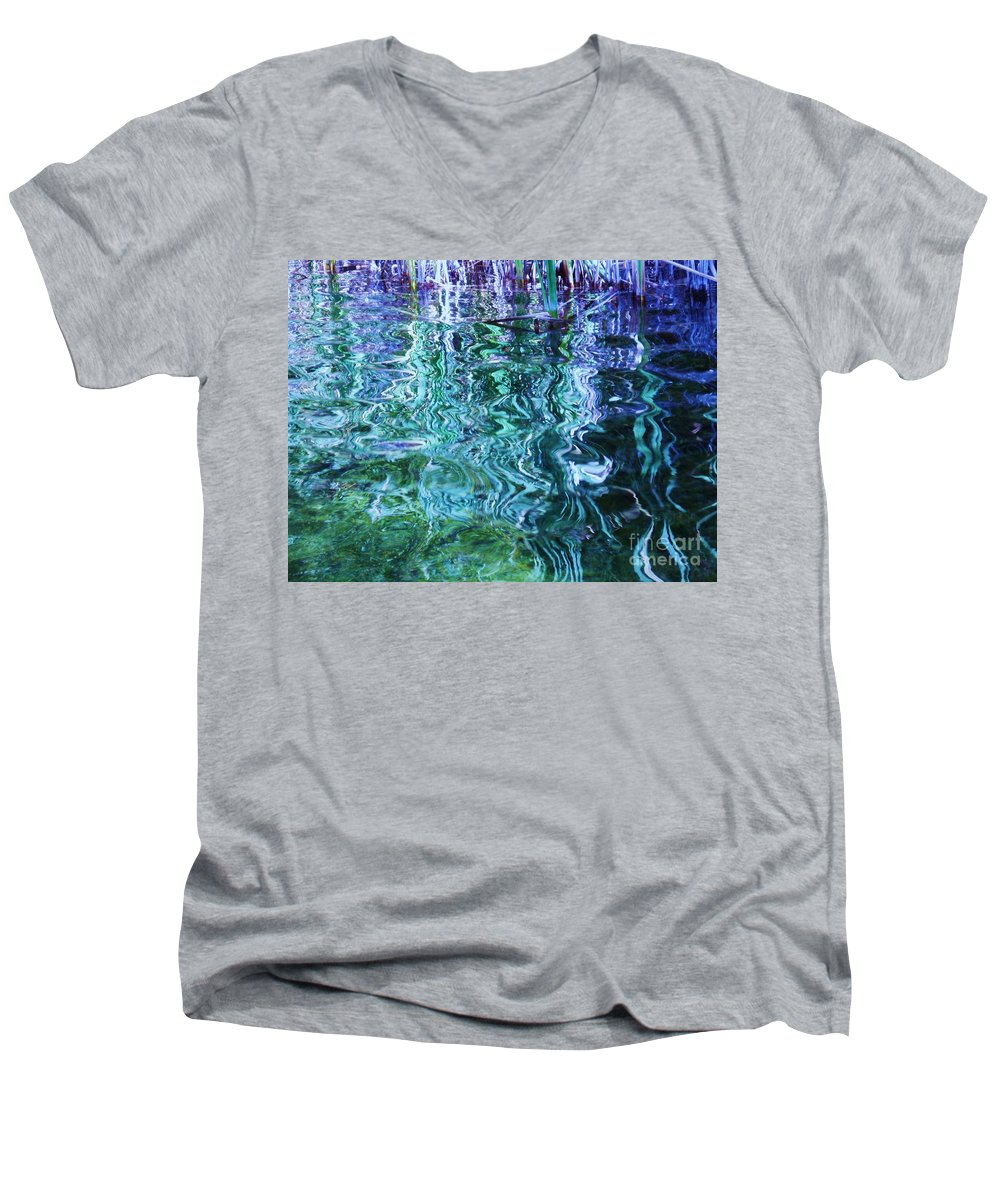 Photograph Blue Green Weed Shadow Lake Water Men's V-Neck T-Shirt featuring the photograph Weed Shadows by Seon-Jeong Kim