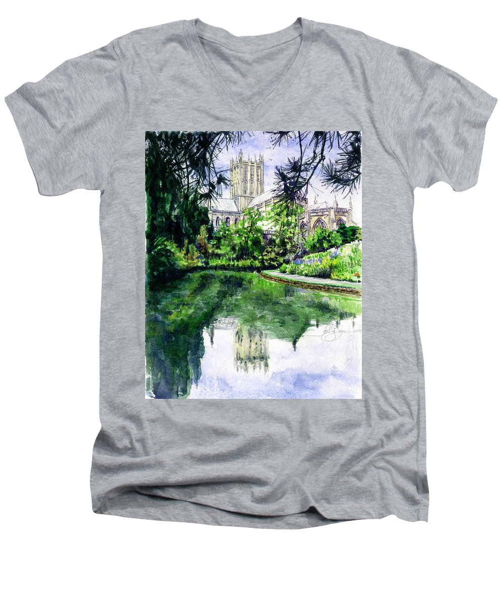 Wells Men's V-Neck T-Shirt featuring the painting Wells Cathedral by John D Benson