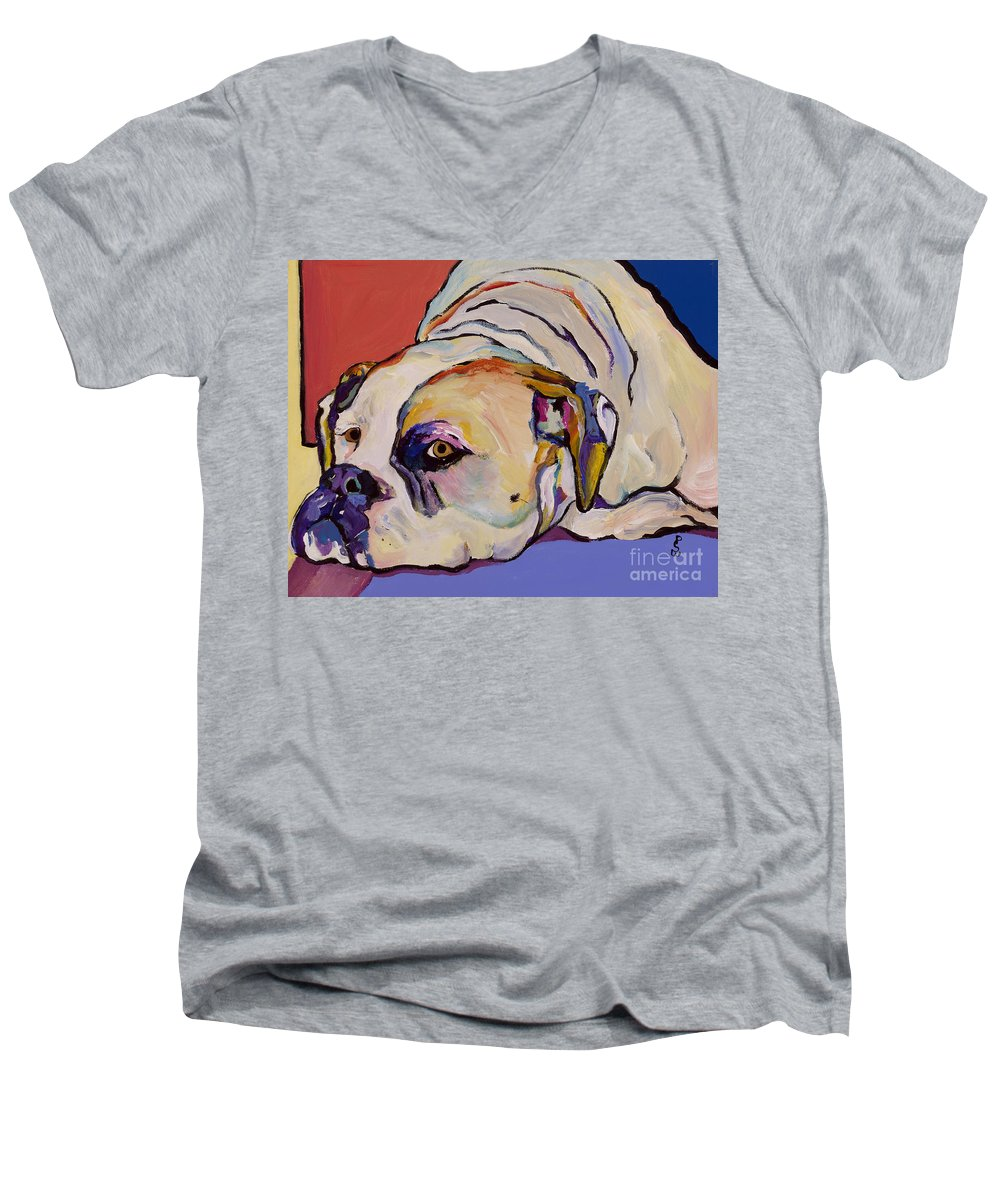 American Bulldog Men's V-Neck T-Shirt featuring the painting Where Is My Dinner by Pat Saunders-White