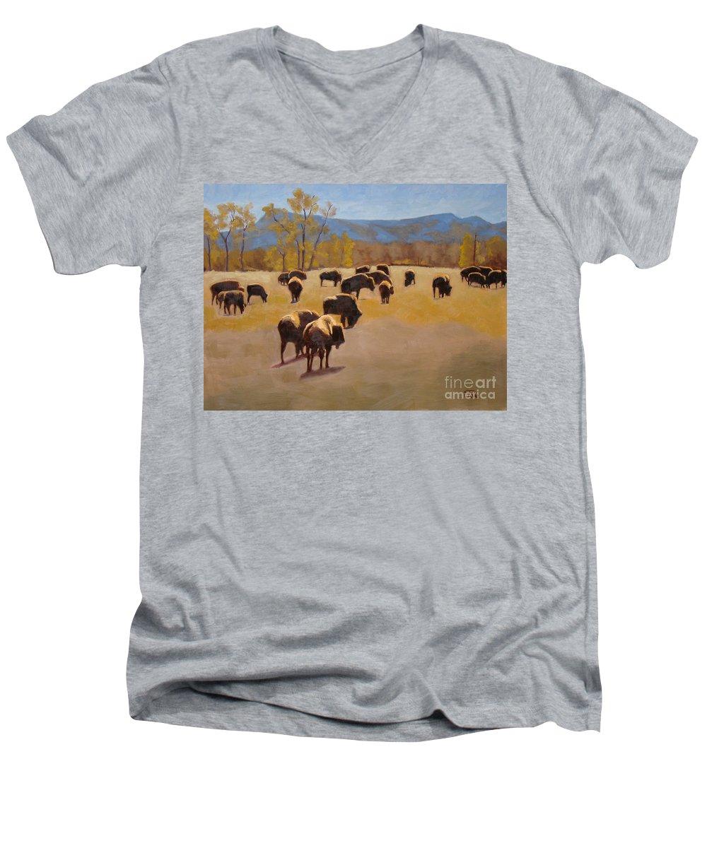 Buffalo Men's V-Neck T-Shirt featuring the painting Where The Buffalo Roam by Tate Hamilton