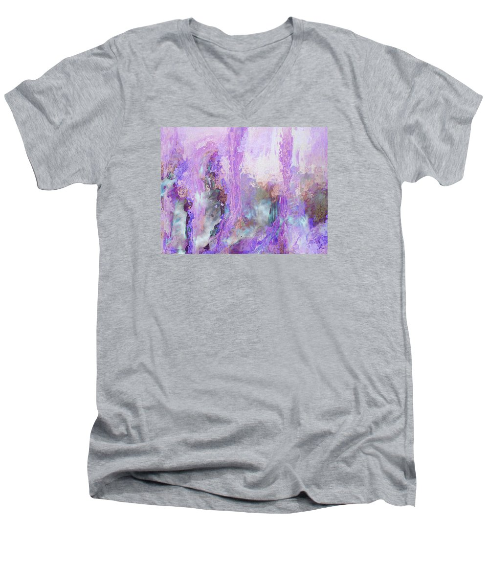 Abstract Art Men's V-Neck T-Shirt featuring the digital art Whisper Softly by Linda Murphy