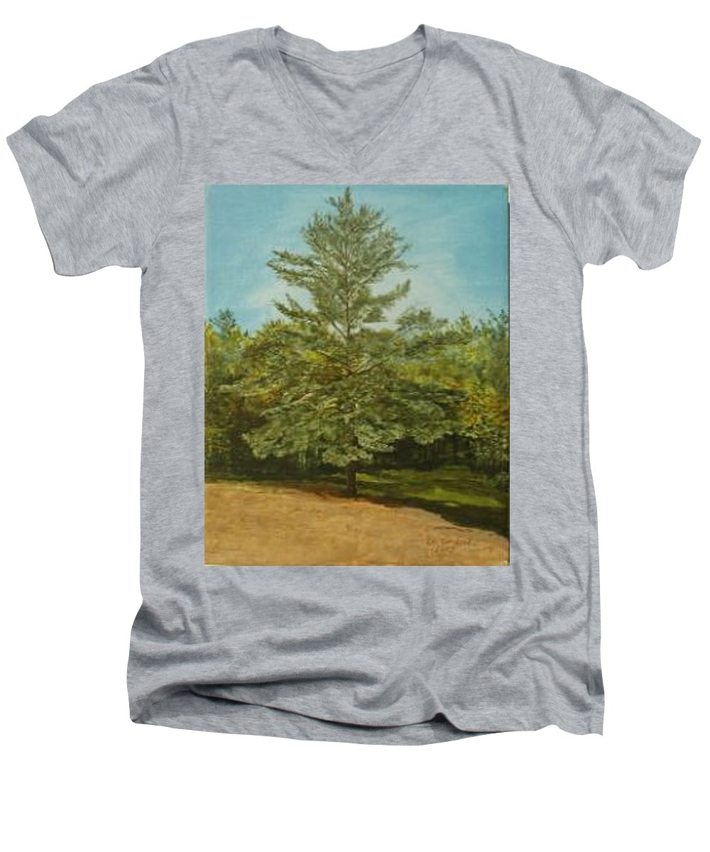 Pine Tree Men's V-Neck T-Shirt featuring the painting White Lake by Leah Tomaino