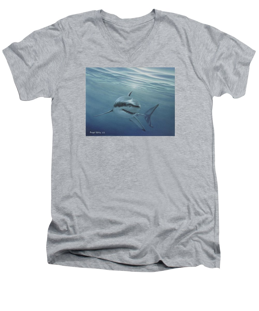 Shark Men's V-Neck T-Shirt featuring the painting White Shark by Angel Ortiz