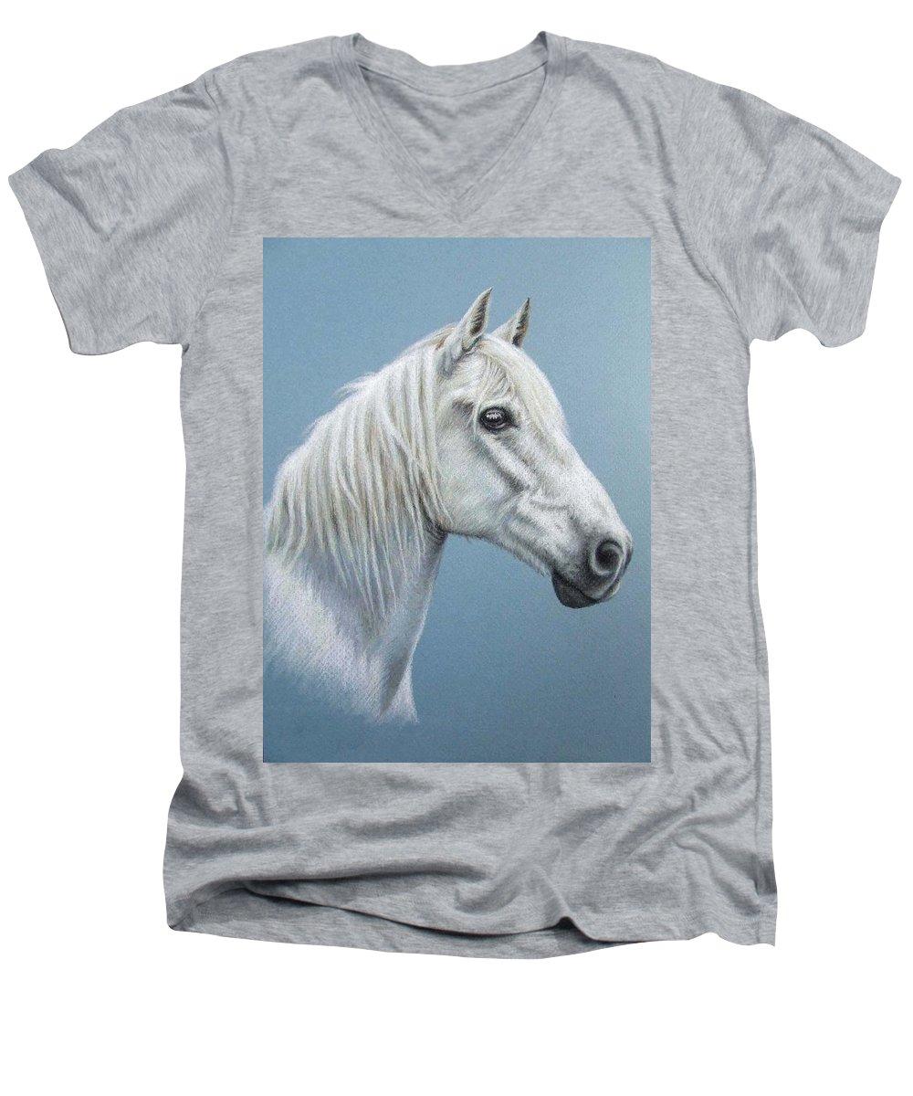Horse Stallion White Pferd Portrait Animal Realism Pastel Men's V-Neck T-Shirt featuring the pastel White Stallion by Nicole Zeug