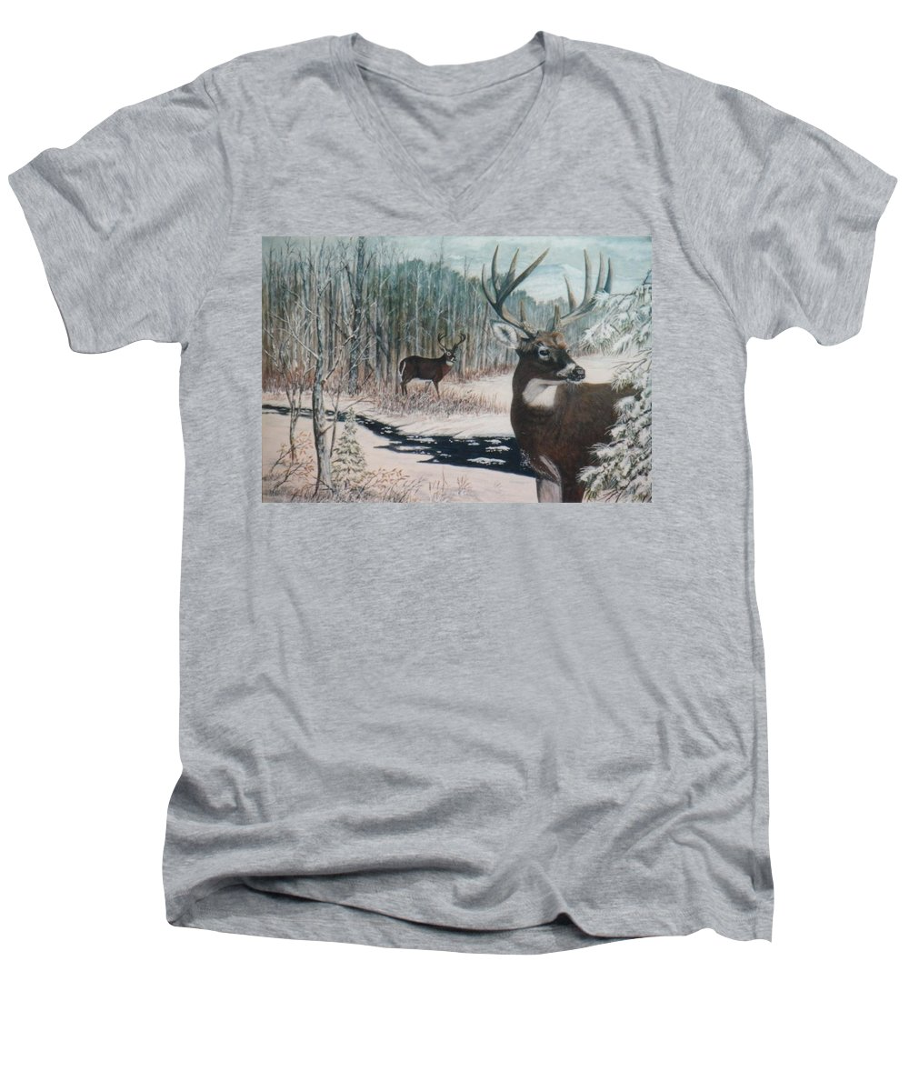 Deer; Snow; Creek Men's V-Neck T-Shirt featuring the painting Whitetail Deer by Ben Kiger