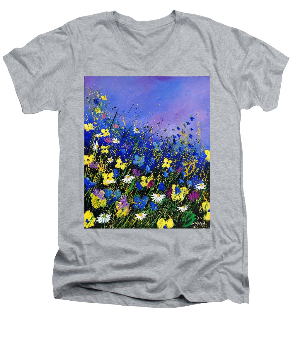 Flowers Men's V-Neck T-Shirt featuring the painting Wild Flowers 560908 by Pol Ledent