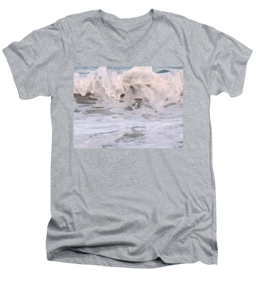 Surf Men's V-Neck T-Shirt featuring the photograph Wild Surf by Ian MacDonald