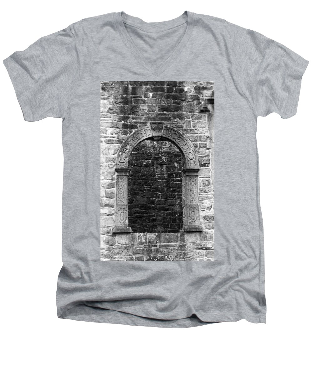 Irish Men's V-Neck T-Shirt featuring the photograph Window At Donegal Castle Ireland by Teresa Mucha