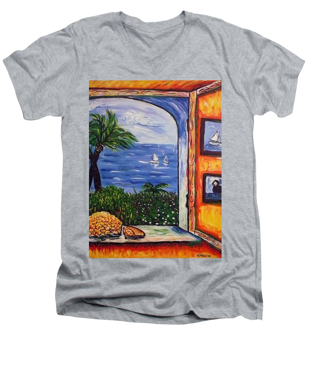 Landscape Men's V-Neck T-Shirt featuring the painting Window With Coral by Ericka Herazo