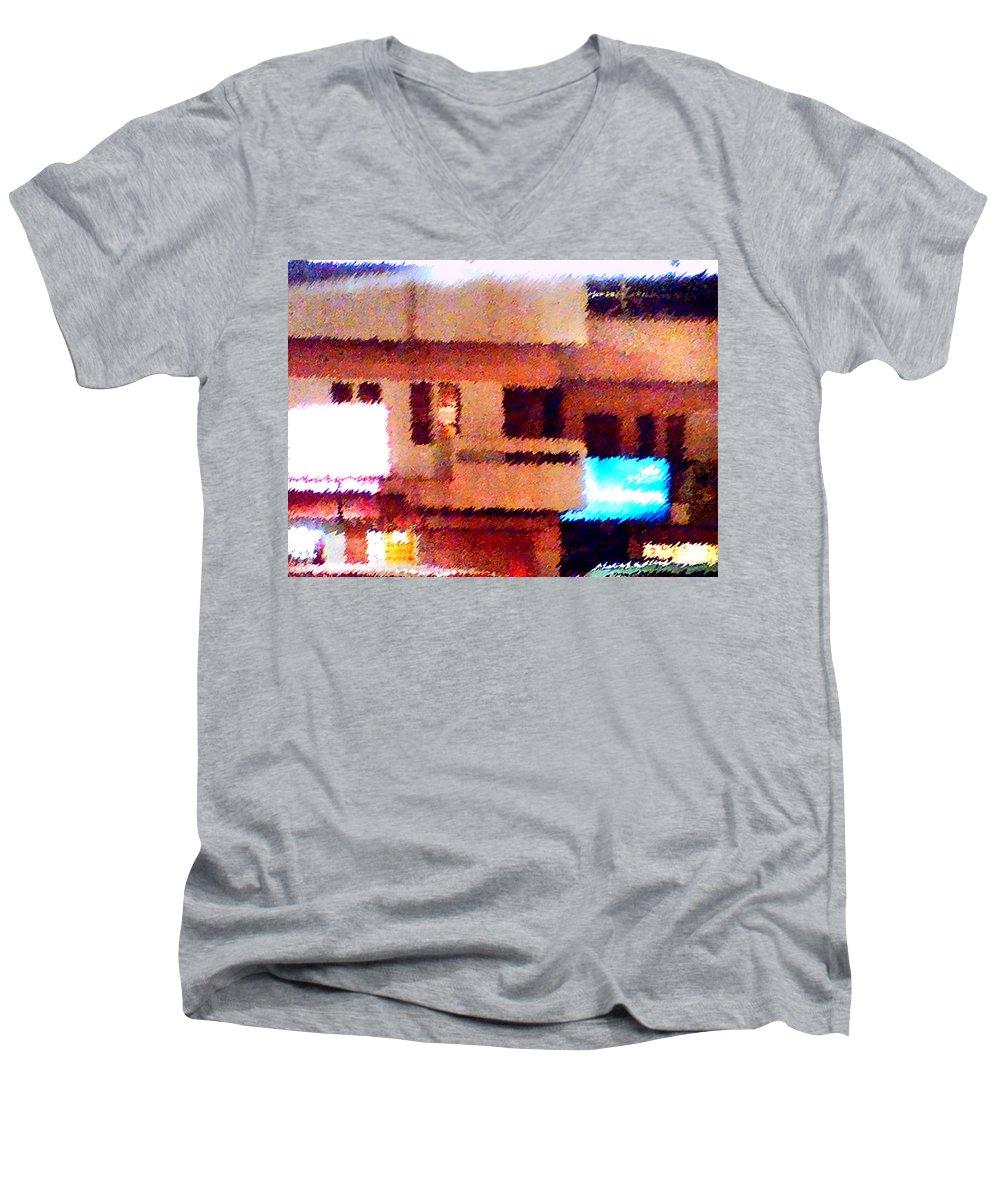 Digital Art Men's V-Neck T-Shirt featuring the painting Windows by Anil Nene
