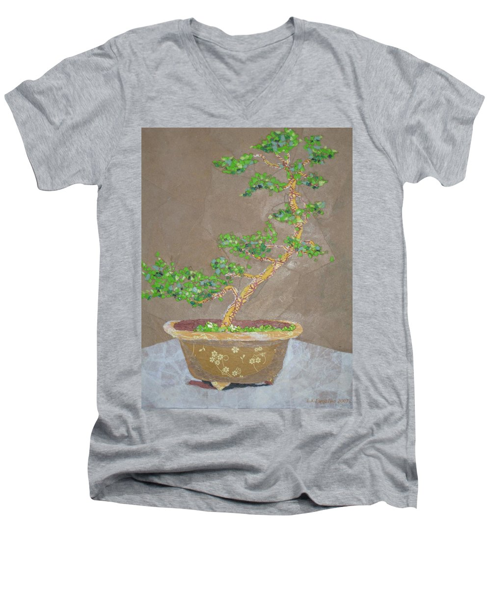 Banzai Tree Men's V-Neck T-Shirt featuring the painting Windswept Juniper by Leah Tomaino