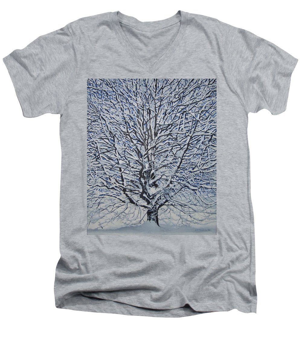 Winter Men's V-Neck T-Shirt featuring the painting Winter '05 by Leah Tomaino