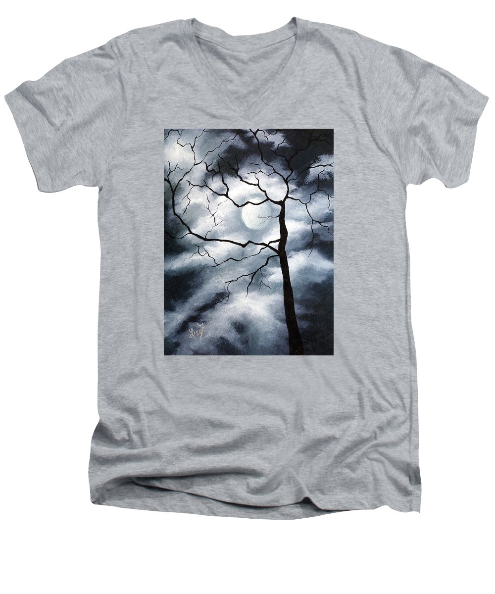 Winter Men's V-Neck T-Shirt featuring the painting Winter Evening by Elizabeth Lisy Figueroa